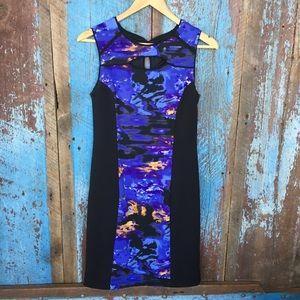 Cynthia Rowley Black Watercolor Panel Sheath Dress